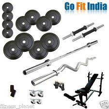 Gofit 70 kg with 6 in 1 Bench weight lifting home gym fitness pack