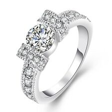 FRECCE placcato in oro bianco zirconi Bridal Anello di fidanzamento Taglia 17.5 mm o fr223