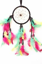 NEW RASTA COLOR DREAM CATCHER HANDMADE W/ LEATHER & FEATHER CAR OR WALL DECOR