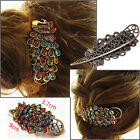 Girls Colorful Crystal Rhinestone Vintage Peacock Hair Clip Barrette Hairpin