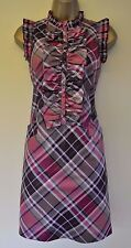 Ted Baker 8 Immaculate Sexy Tartan Check Frill Wedding Races Cruise Shift Dress