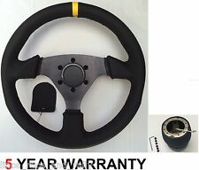 GENUINE LEATHER RACE STEERING WHEEL AND BOSS KIT FIT VAUXHALL CORSA B ASTRA OPEL