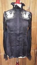 Victorian Trading Co Black Lace Button Up Blouse High Collar Lace Cuffs Large