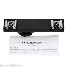 Dual Hot Shoe Flash Speedlite Light Bracket Splitter for Nikon DSLR TTL Camera