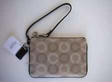 Coach Small OP Art Khaki Mahogany Iphone Smartphone Wristlet.