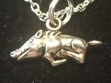 BIN Razorbacks Wild Hog Boar Pig Arkansas Charm Tibetan Silver Necklace 18""