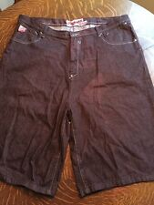 AKADEMIKS Shorts Size 44 Jeans BIG & TALL Zip Fly Brown Denim Hip Hop Baggy