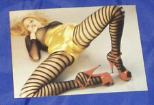 ERIC KROLL Postkarte EROTIK MELISSA IN STRIPES hot panty HIGH HEELS Nylons sexy