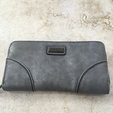 Nicole Miller wallet zip-around clutch full size Dove Gray NY8121 faux suede