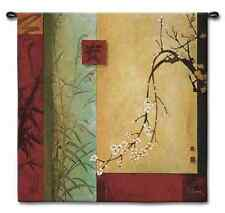 GEOMETRIC FLORAL BAMBOO ABSTRACT ASIAN ART TAPESTRY WALL HANGING SMALL 44x44