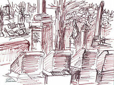 """""""DRAWING AT ALLEGHENY CEMETERY"""" by Ruth Freeman INK 8 1/2"""" X 11 1/4"""""""