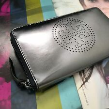Tory Burch Gunmetal Metallic Perforated Leather Zip Continental Wallet 31305 NWT