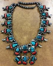 {BJSTAMPS} Old Pawn Silver Turquoise Coral Squash Blossom Necklace signed HMIJ