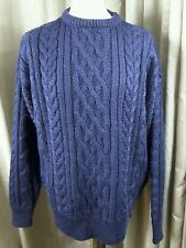 Aran Navy Blue Cable 100% British Wool Jumper by Woolovers - Large EXC COND