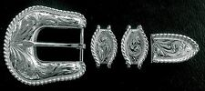 """1"""" Hand Engraved Silver Rope Edge Buckle Set  -- 4 piece --"""