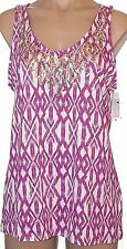 New Apt. 9 L, large Sequined scoop neck sleeveless knit tunic top shirt