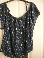 MANTARAY NAVY, BLUE GREEN IVORY FLORAL BARDOT TOP UK 14, EUR 40-42, US 10 BNWT