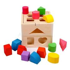 Early Learning Wooden Block Shape Sorting Box Children Kids Educational Toy