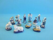 AMAZING MINIATURE PORCELAIN BLUE, GOLD TRIMMED & PEARLISED NATIVITY SET 2011
