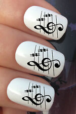 NAIL ART SET #309. x24 MUSICAL SHEET MUSIC NOTES WATER TRANSFERS/DECAL/STICKERS