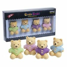 Teddy Bear Eraser 4 Set Pencil Toppers Rubber Collection Puzzle Plush Cute Coat