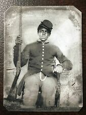 African American Civil War US Soldier With Rifle & Uniform TinType C59NP