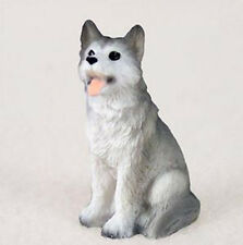 SIBERIAN HUSKY GRAY WHITE (BROWN EYES) TINY ONES DOG Figurine Statue Resin