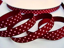 "5 yard Burgundy Red/Pink Polka Dots Grosgrain 3/8"" Ribbon/Craft/Color/Bow R79-16"