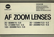 Minolta AF Zoom Lenses - Bedienungsanleitung / Manual - (100410)