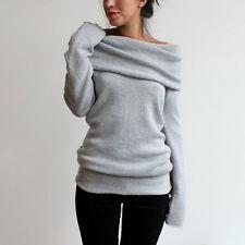 Damen Langarm Pullover Pulli Strick Tunika Sweater Kleider Bluse Tops Grau M