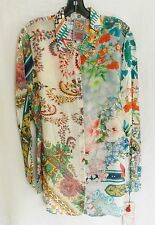 $188 JOHNNY WAS FLORAL BUTTON DOWN SHIRT TUNIC TOP RAYON  SZ XL  NWT