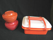 VTG TUPPERWARE PAK-N-CARRY LUNCH BOX CONTAINER + 2 SERVE N SEAL BOWLS - PAPRIKA