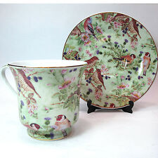 DARICE CERAMIC CUP AND SAUCER CHINA BIRDS AND FLOWERS