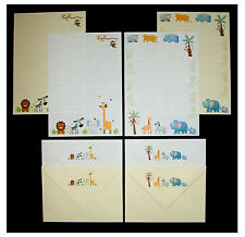 Mignon coloré jungle animaux letter writing stationery set blanc & crème papier