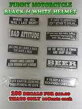 BLACK & WHITE FUNNY MOTORCYCLE HELMET DECALS STICKERS LOT OF 100