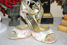 N.Y.L.A. GOLD BROCADE SATIN ANKLE STRAP OPEN TOE HIGH HEEL WOMEN'S SHOES S 7.5 B