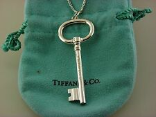 "Tiffany & Co St. Silver Oval Key Pendant Extra LARGE 2.5"" on 16""inch Necklace."