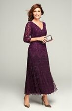 Pisarro Nights Beaded sequin mesh 3/4 sleeve plum maxi dress Gown