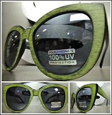 CLASSIC VINTAGE RETRO CAT EYE Style SUN GLASSES Green & Black Frame Dark Lens