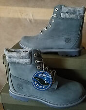 NEW TIMBERLAND WOMENs 6IN WATERPROOF DENIM LOOK DOUBLE COLLAR BOOTS US 9