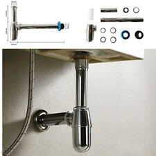 Bathroom Basin Sink Tap Faucet Bottle Waste Trap Drain Kit Chrome Pipe P-TRAP