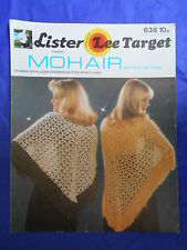 Retro vintage ladies shawl crochet  pattern mohair fringed with 4 ply