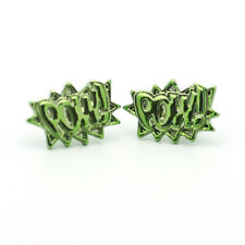 Green POW! Stud Post Earrings in Gift Case Comic Book Design New 15mm