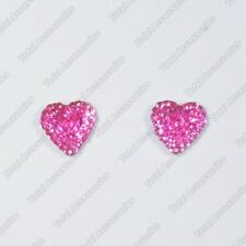 Pink Crystal Heart Magnet Stud Earrings - Magnetic Mens Womens Fashion - NEW