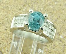 5.47 C LADIES BLUE ZIRCON &  DIAMOND RING VS H 18K INVISIBLE SET 18K 9.20 GRAMS