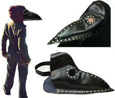 Leather Plague Doctor Costume Hood Gothic Cosplay Steampunk Medieval Death Mask