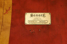 Antique Sonora victrola crank talking machine phonograph ID identification plate
