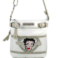 Classic Betty Boop Messenger Bag with Rhinestones & Clear Glossy Accent - White