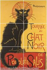 "THEOPHILE STEINLEN LE CHAT NOIR BLACK CAT CERAMIC 6x4.25"" TILE MURAL SPLASH BACK"