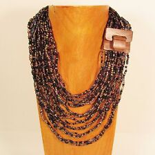 "32"" Lt Purple Black Gold Color Wood Buckle Waterfall Handmade Seed Bead Necklace"